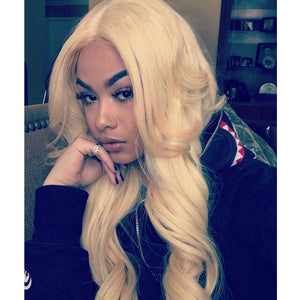 613 Blonde Hair Body Wave Full Lace Wig Pre Plucked Hairline
