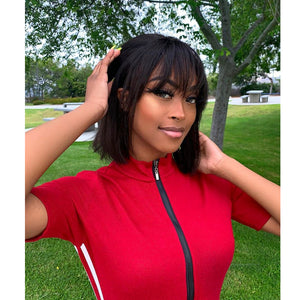 Hot Sale Bob With Bangs Human Hair Lace Front Wig