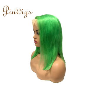 Pinwigs Hair Green Bob Full Lace Wig/Lace Front Wig , Pre Order take 5-7 Business Days to Customize
