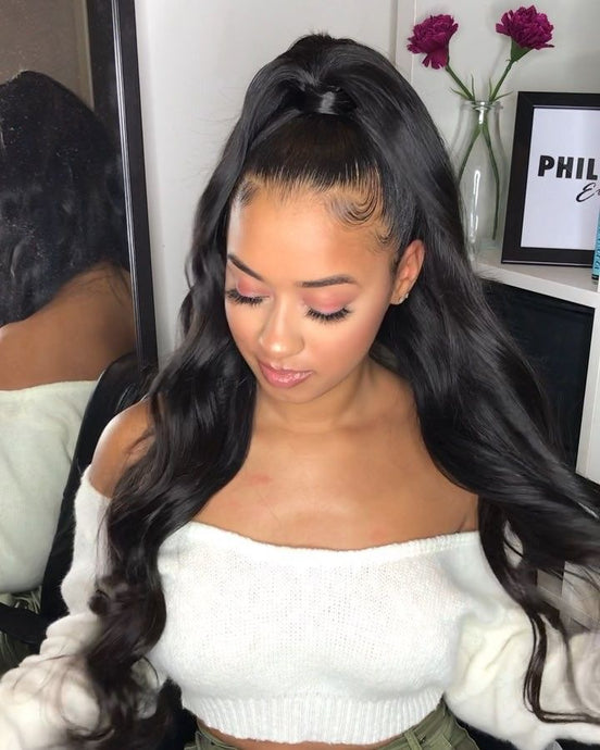 Pinwigs Body Wave 360 Lace Frontal 100% Human Hair ,Natural Color