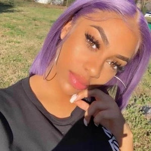 Pinwigs Hair Purple Grey Bob Full Lace Wig/Lace Front Wig , Pre Order take 5-7 Business Days to Customize