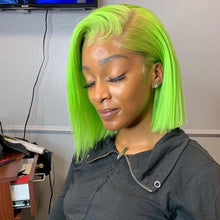 Load image into Gallery viewer, Pinwigs Hair Green Bob Full Lace Wig/Lace Front Wig , Pre Order take 5-7 Business Days to Customize