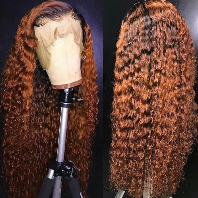 Maple Red 150% Density Deep Curly Lace Front Wig Human Hair Wig