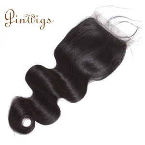 Pinwigs Body Wave Silk Base Closure 100% Human Hair ,Natural Color