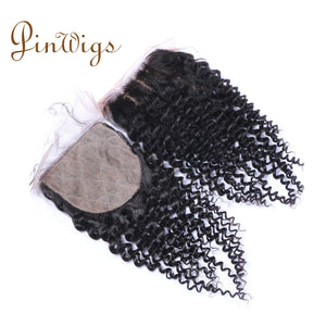 Pinwigs Curly Silk Base Closure 100% Human Hair ,Natural Color
