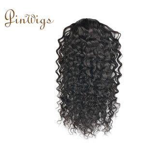 Pinwigs Curly Ponytail Human Hair Clip In Extensions Virgin Hair Drawstring Ponytail 1 Piece Natural Color
