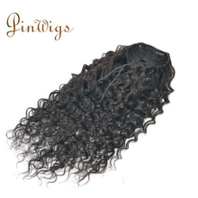 Load image into Gallery viewer, Pinwigs Curly Ponytail Human Hair Clip In Extensions Virgin Hair Drawstring Ponytail 1 Piece Natural Color