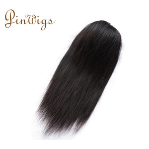 Pinwigs Straight Ponytail Human Hair Clip In Extensions Virgin Hair Drawstring Ponytail 1 Piece Natural Color