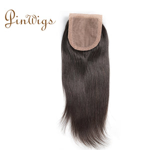 Pinwigs Straight Silk Base Closure 100% Human Hair ,Natural Color