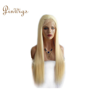 613 Blonde Hair Straight Full Lace Wig Pre Plucked Hairline