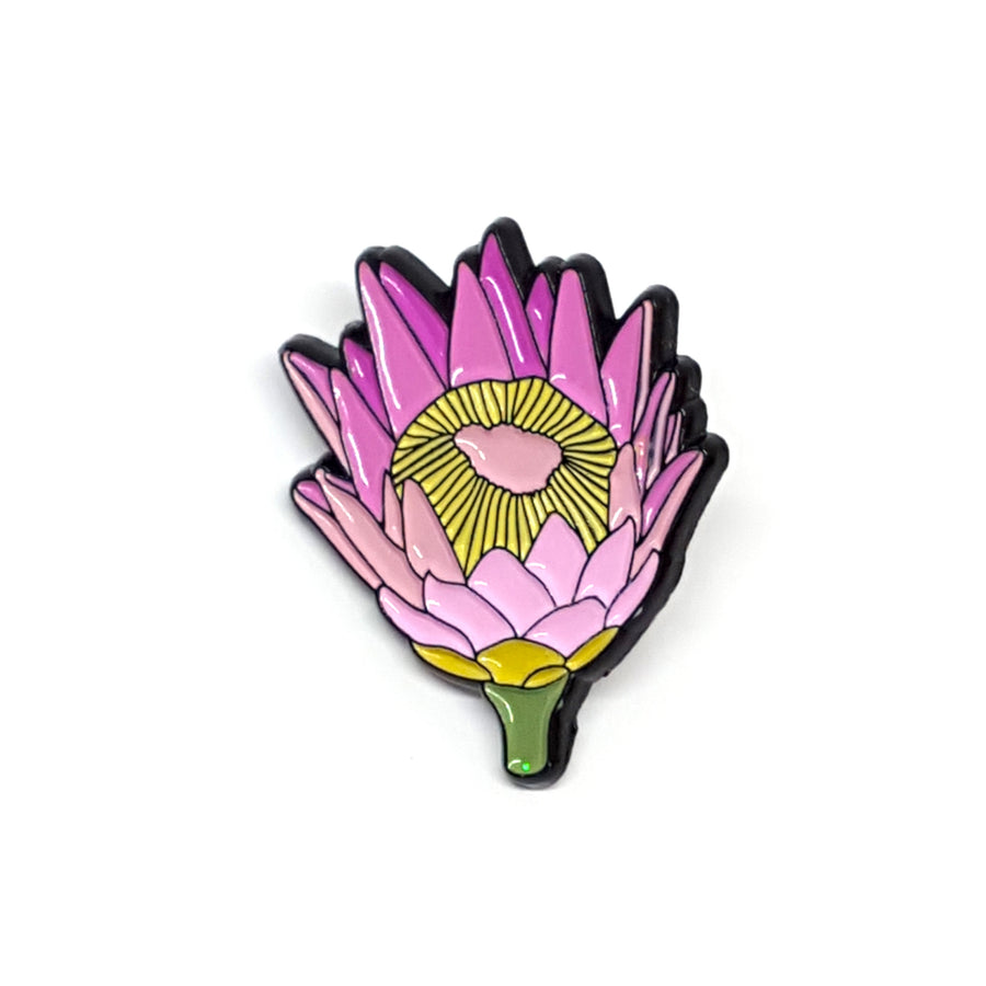 King Protea Flower Enamel Pin by Patch Press