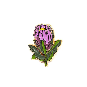 Pink Protea Enamel Pin by Patch Press
