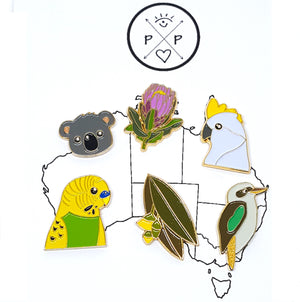 Set of 6 Australiana Enamel Pins by Patch Press (Set B)