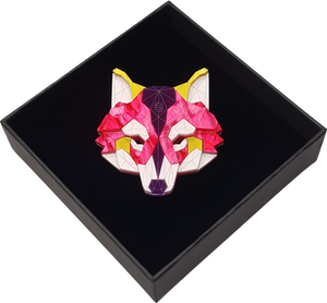 Wolf Head Brooch (Magenta Jewel) by Sstutter