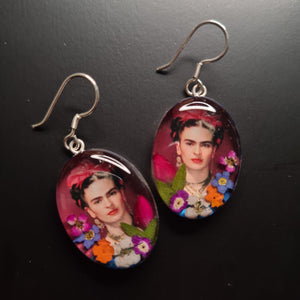 Frida Kahlo Mexican Flowers Red Bow Earrings by San Marco
