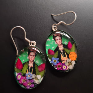 Frida Kahlo Mexican Flowers Green Earrings by San Marco