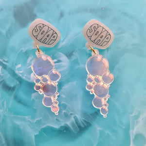 Bubbly Soap Earrings (Blue) by Gory Dorky