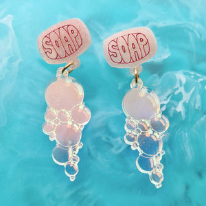 Bubbly Soap Earrings (Pink) by Gory Dorky