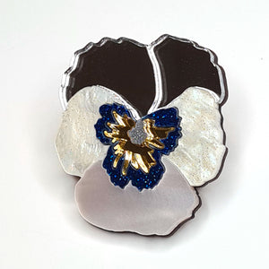 Textured Pansy Brooch (Silver) by Esoteric London