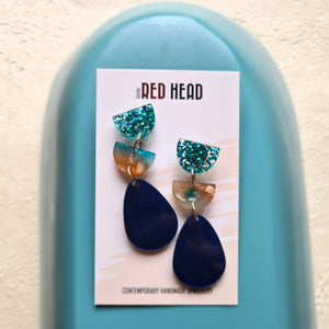 Teardrop Trios Watercolour Earrings (a)  by Little Red Head