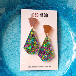 Vivid Geo Drops Earrings by Little Red Head