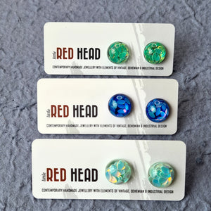 Resin Stud Earrings (Green, Blue or Pastel Mint) by Little Red Head