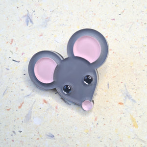 Little Grey Mouse Brooch by Monolama