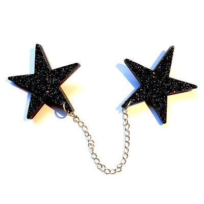 Bowie Tribute Double Star Brooch  by Baccurelli