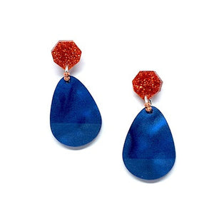 Navy and Copper Tear Drop Earrings by Little Red Head