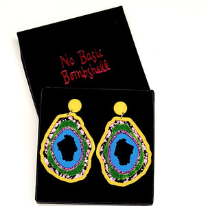 Medium Banana/Pink Foil/Green/Purple Glitter/Blue Geode Earrings by No Basic Bombshell