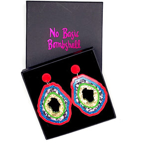Medium Cerise/Blue/Purple/Lime/Gold Geode Earrings by No Basic Bombshell
