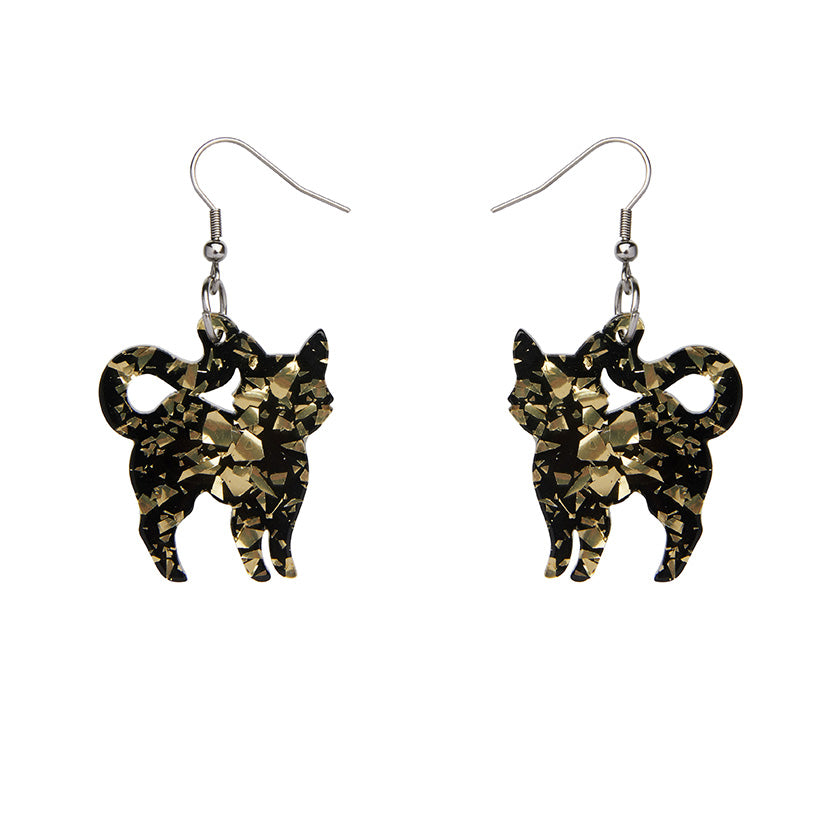Pussy Cat Chunky Glitter Resin Drop Earrings - Yellow by Erstwilder
