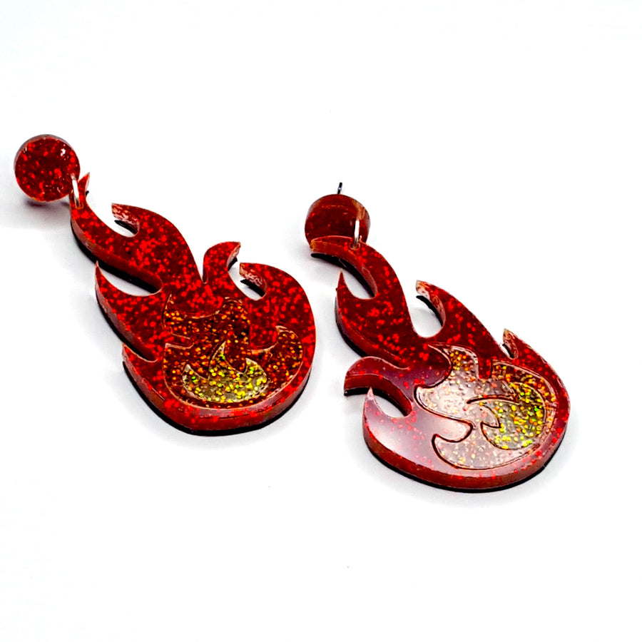 Red/Amber Flame Earrings by No Basic Bombshell