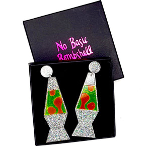 Glitter  Lava Lamp Earrings by No Basic Bombshell