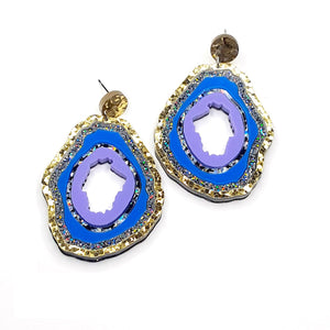 Medium Gold/Holo Glitter/Blue/Multi Fleck/Lilac Geode Earrings by No Basic Bombshell