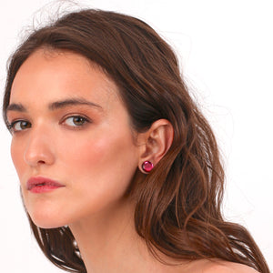 Taurus Single Dangle Earring plus Pink stud  by Monolama