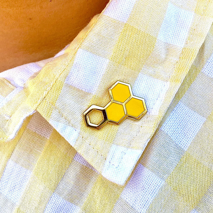 Happy Honeycomb Enamel Pin by Erstwilder