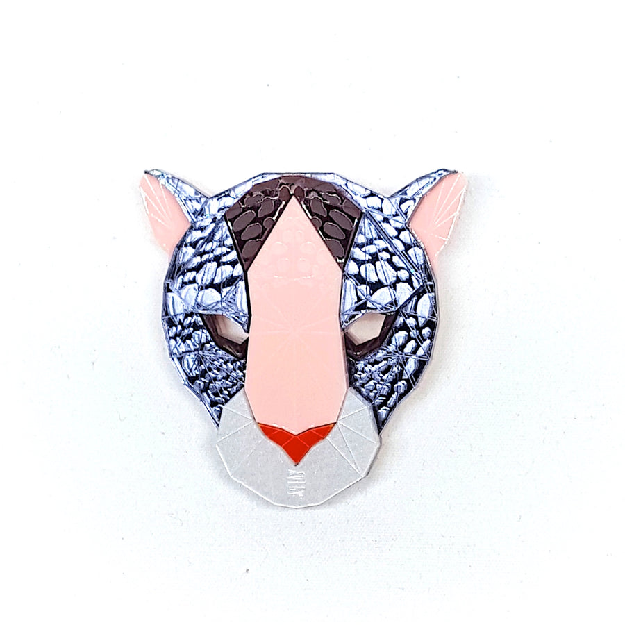 Leopard Head Brooch (Faux Fox) by Sstutter
