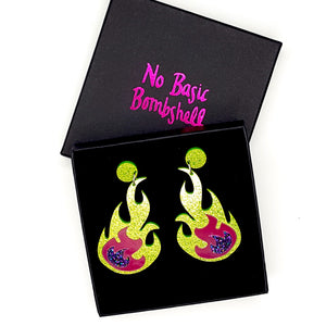 Lime/Pink/Purple Flame Earrings by No Basic Bombshell