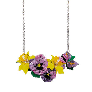 Love-in-Idleness Daffodil, Pansy & Orchid Necklace (Small) by Erstwilder