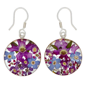 Purple Mexican Flowers Round Medium Hook Earrings by San Marco