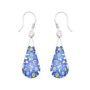 Blue Mexican Flowers Medium Pendulum Earrings by San Marco