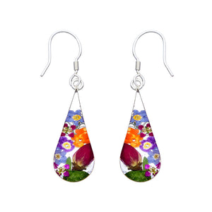 Garden Mexican Flowers Medium Pendulum Earrings by San Marco