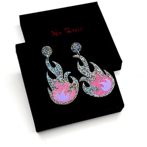 Silver/Pink/Lilac Flame Earrings by No Basic Bombshell