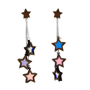 Triple Iridescent Star Dangle Stud Earrings by Esoteric London