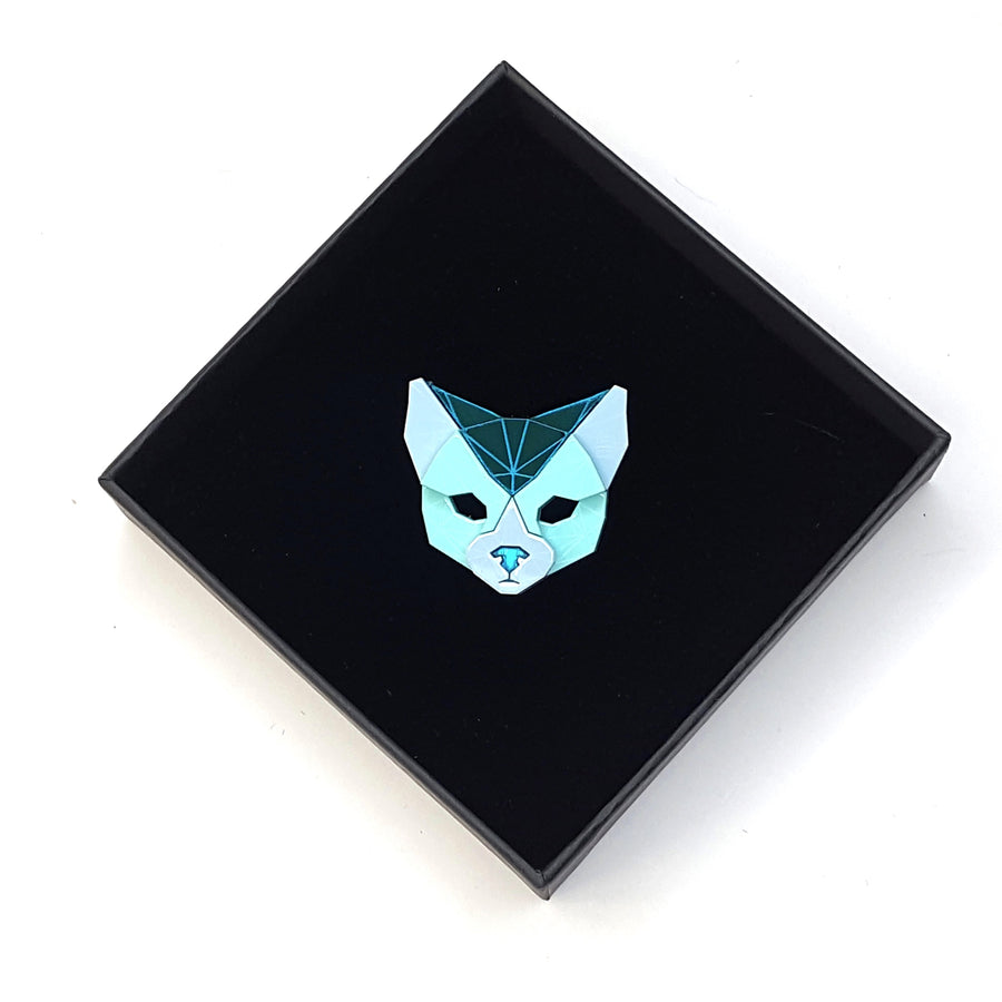 Cat Head Brooch (Aqua Kingdom) by Sstutter
