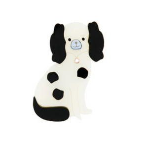 Staffordshire Dog Brooch (Black/White) by Little Moose