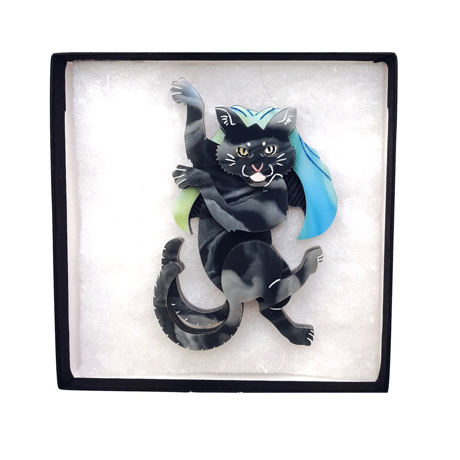 Nekomata Brooch (Black) by Gory Dorky