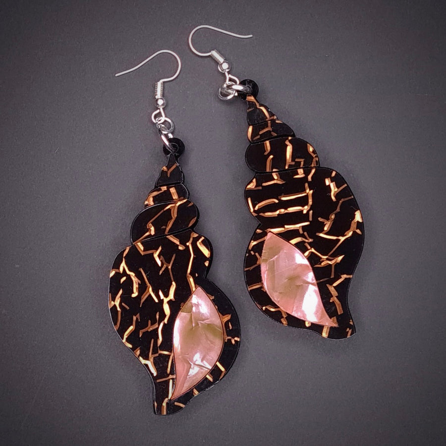 Black Gold Pink Shell Earrings by Lou Taylor