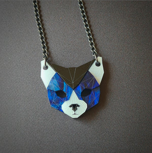 Cat Head Necklace (Deep Blue) by Sstutter
